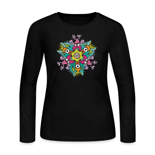 Doodle art in the form of crazy hungry monsters - Women's Long Sleeve Jersey T-Shirt