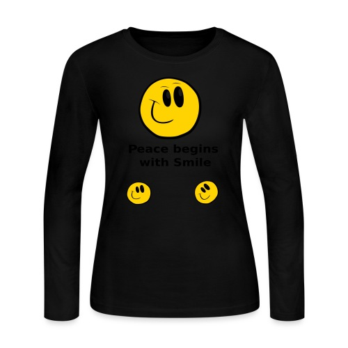 Peace begins with Smile - Women's Long Sleeve Jersey T-Shirt