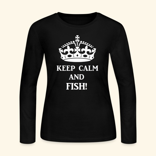 keep calm fish wht - Women's Long Sleeve Jersey T-Shirt