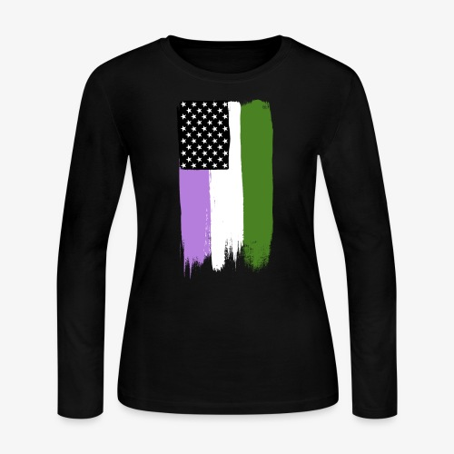 Genderqueer Pride Stars and Stripes - Women's Long Sleeve Jersey T-Shirt