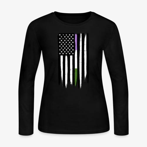 Genderqueer Thin Line American Flag - Women's Long Sleeve Jersey T-Shirt