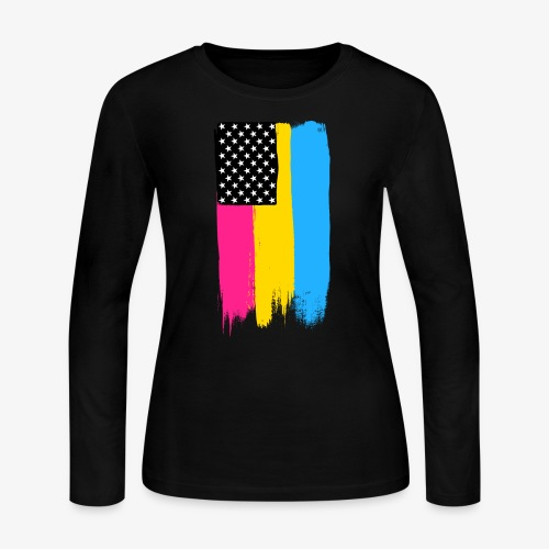 Pansexual Pride Stars and Stripes - Women's Long Sleeve Jersey T-Shirt
