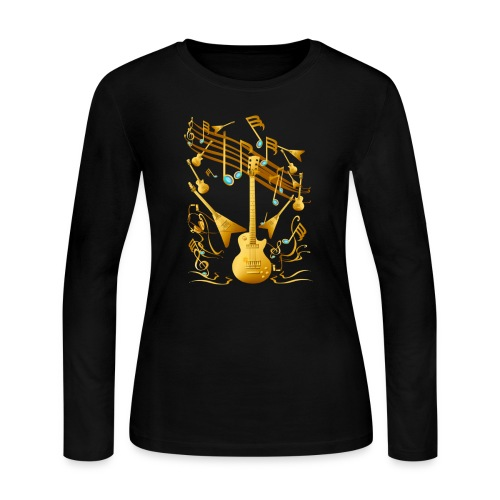 Gold Guitar Party - Women's Long Sleeve Jersey T-Shirt
