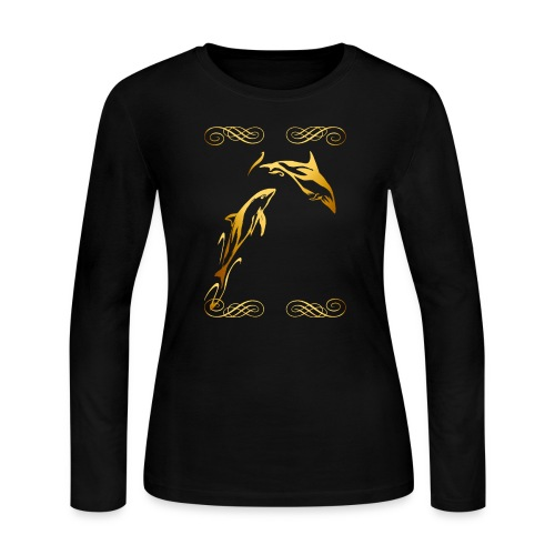 Two Gold Dolphins with frilly frames - Women's Long Sleeve Jersey T-Shirt