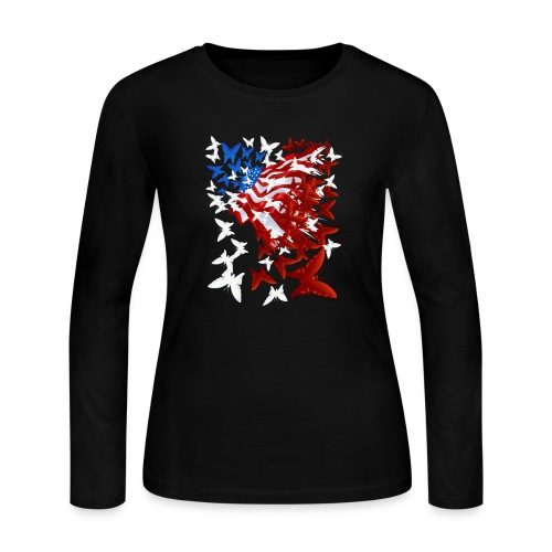 The Butterfly Flag - Women's Long Sleeve Jersey T-Shirt