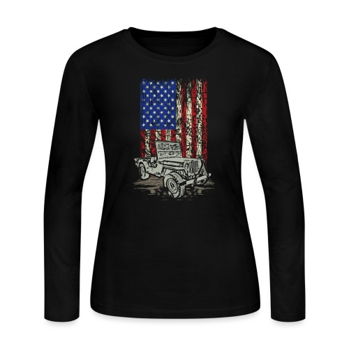 Jeep American Flag - Women's Long Sleeve Jersey T-Shirt