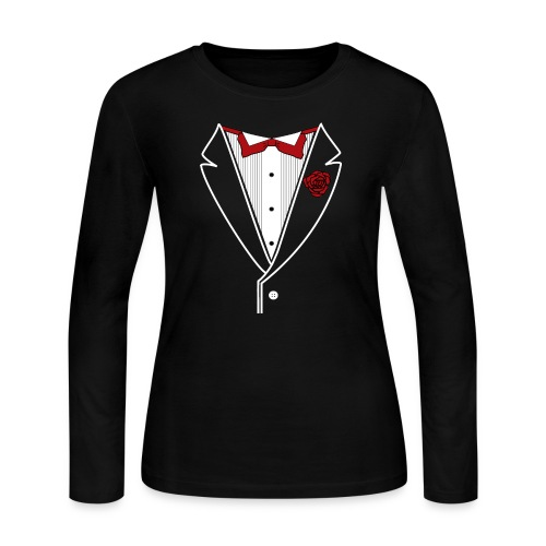Tuxedo with Red bow tie - Women's Long Sleeve Jersey T-Shirt