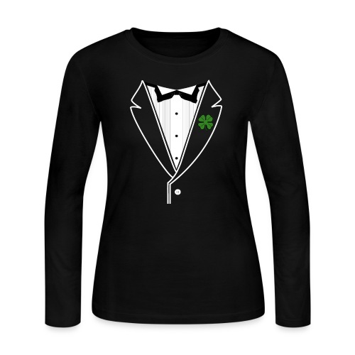 Shamrock Tuxedo w/ White Lapel - Women's Long Sleeve Jersey T-Shirt