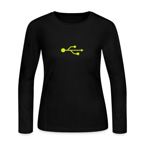 Yellow USB Logo Mid - Women's Long Sleeve Jersey T-Shirt