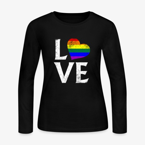 LGBTQ Pride Stacked Love - Women's Long Sleeve Jersey T-Shirt