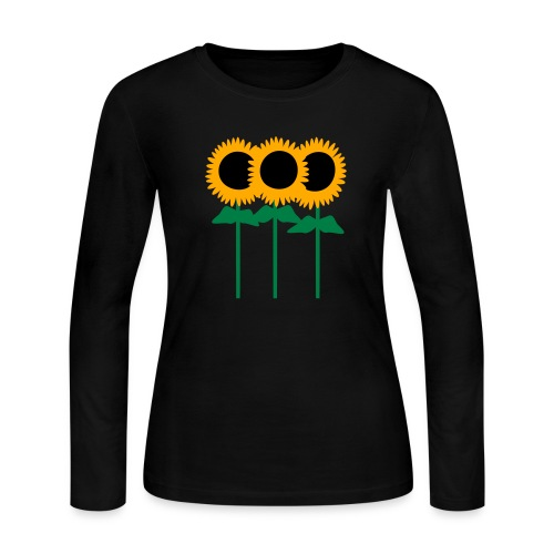 Three Cute Sunflowers With Stem And Leaves - Women's Long Sleeve Jersey T-Shirt