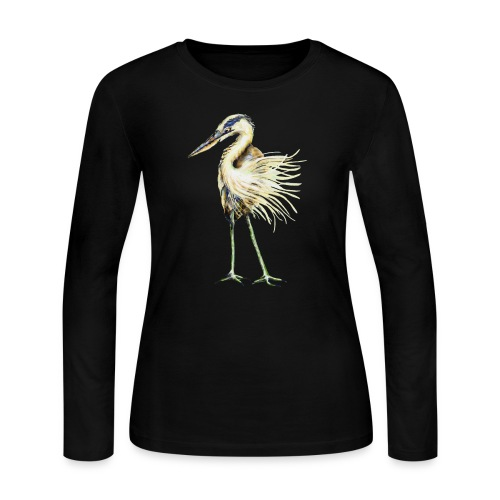 Great Blue Heron - Women's Long Sleeve Jersey T-Shirt