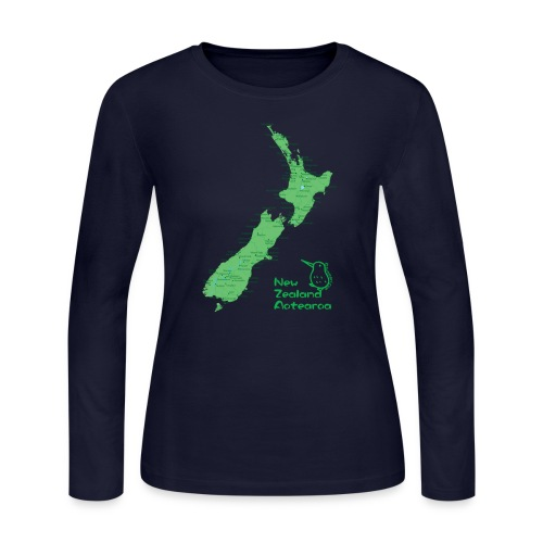 New Zealand's Map - Women's Long Sleeve Jersey T-Shirt