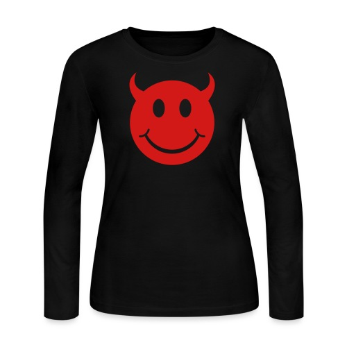 Smiley Devil Face - Women's Long Sleeve Jersey T-Shirt