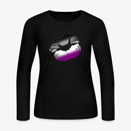 Asexual Pride Big Kissing Lips - Women's Long Sleeve Jersey T-Shirt
