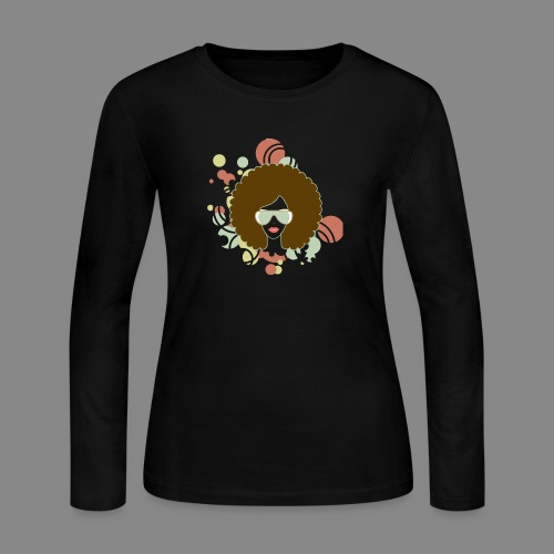 Brown Afro (Abstract) - Women's Long Sleeve Jersey T-Shirt