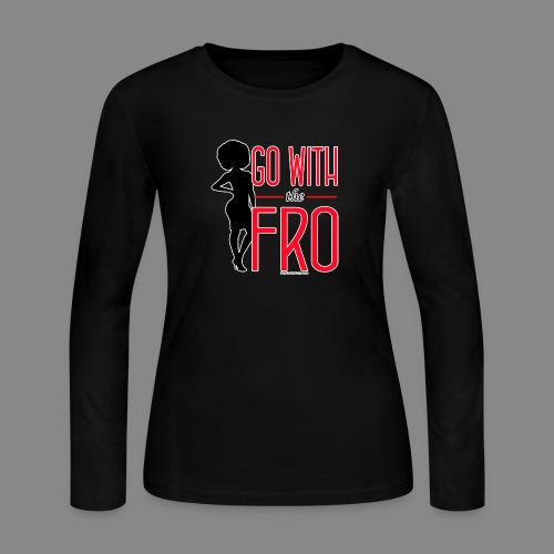 Go With the Fro (Dark) - Women's Long Sleeve Jersey T-Shirt