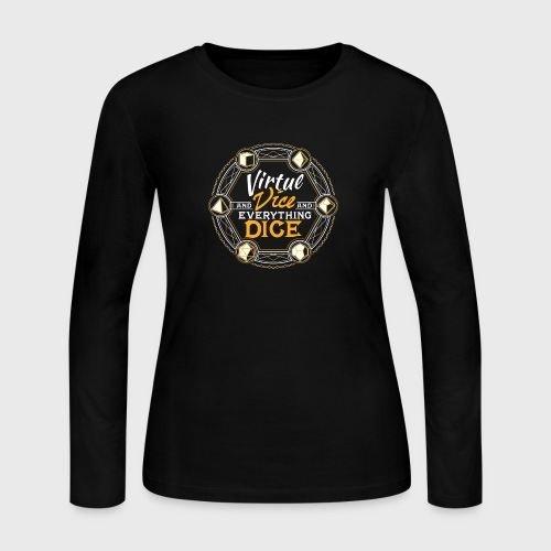 Dungeons RPG Dice d20 Virtue and Vice and Dice - Women's Long Sleeve Jersey T-Shirt