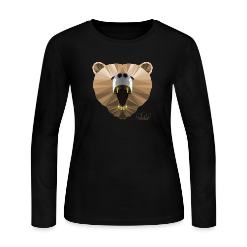 Hungry Bear Women's V-Neck T-Shirt - Women's Long Sleeve Jersey T-Shirt