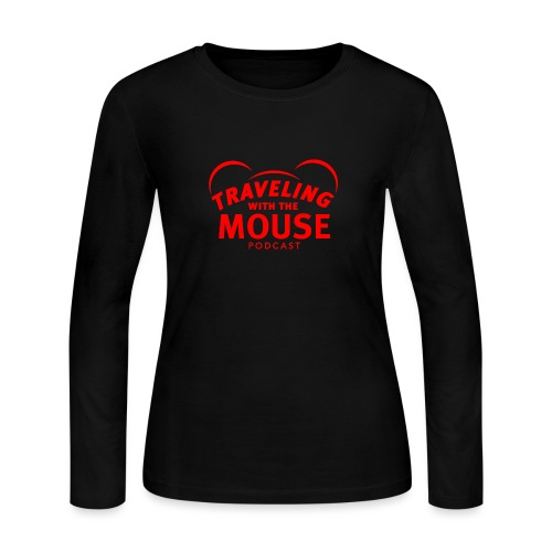 TravelingWithTheMouse logo transparent RED - Women's Long Sleeve Jersey T-Shirt