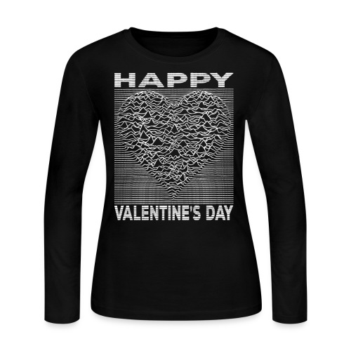 Love Lines Happy Valentines Day Heart - Women's Long Sleeve Jersey T-Shirt