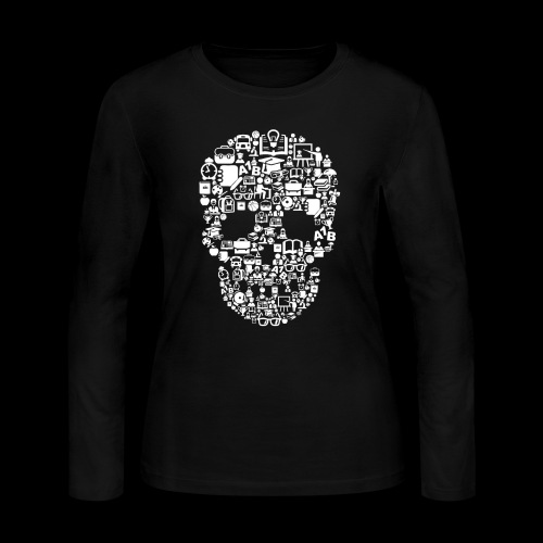 Getting Schooled Skull - Women's Long Sleeve Jersey T-Shirt
