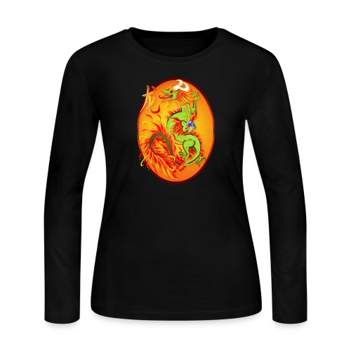 New Year Dragon and Symbol Oval - Women's Long Sleeve Jersey T-Shirt