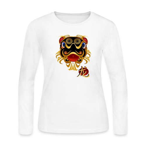 Black n Gold Chinese Dragon 's Face and Symbol - Women's Long Sleeve Jersey T-Shirt