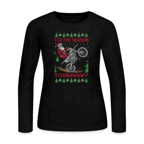 Dirt Bike Ugly Christmas - Women's Long Sleeve Jersey T-Shirt