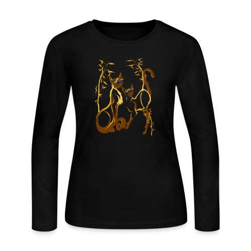 Two gold Siamese Kitties - Women's Long Sleeve Jersey T-Shirt
