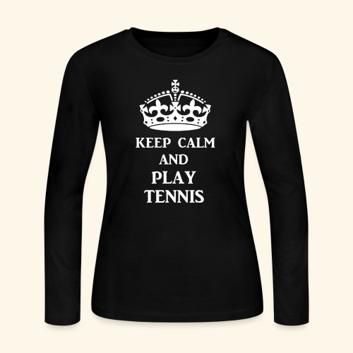 keep calm play tennis wht - Women's Long Sleeve Jersey T-Shirt