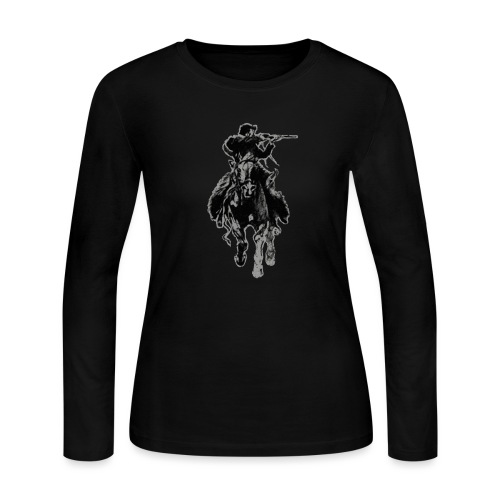 Rustic cowboy with rifle riding horse - Women's Long Sleeve Jersey T-Shirt