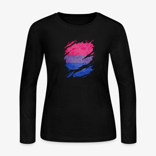 Bisexual Pride Flag Ripped Reveal - Women's Long Sleeve Jersey T-Shirt