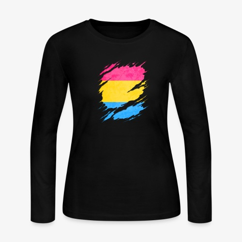 Pansexual Pride Flag Ripped Reveal - Women's Long Sleeve Jersey T-Shirt