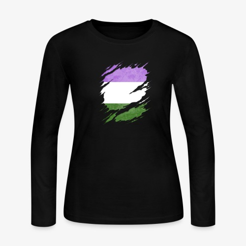 Genderqueer Pride Flag Ripped Reveal - Women's Long Sleeve Jersey T-Shirt