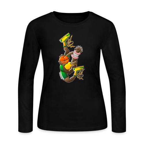 Acrobatic basketball player performing a high jump - Women's Long Sleeve Jersey T-Shirt
