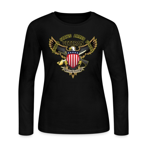 United States Armed Forces Veteran, Proudly Served - Women's Long Sleeve Jersey T-Shirt