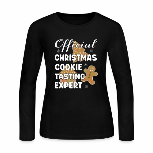 Funny Official Christmas Cookie Tasting Expert. - Women's Long Sleeve Jersey T-Shirt