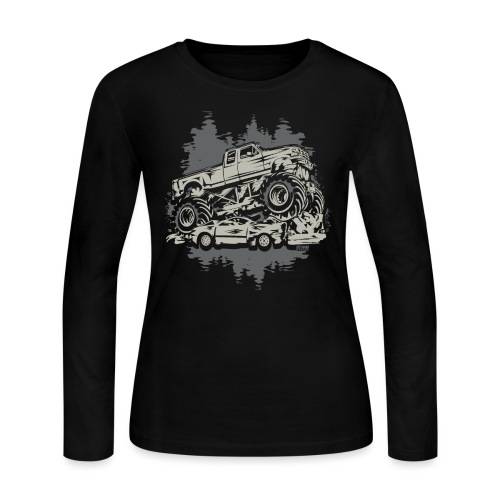 Monster Truck Grunge - Women's Long Sleeve Jersey T-Shirt