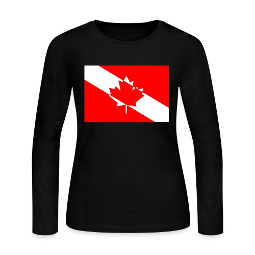 Canadian Diver Flag in Red & White - Women's Long Sleeve Jersey T-Shirt