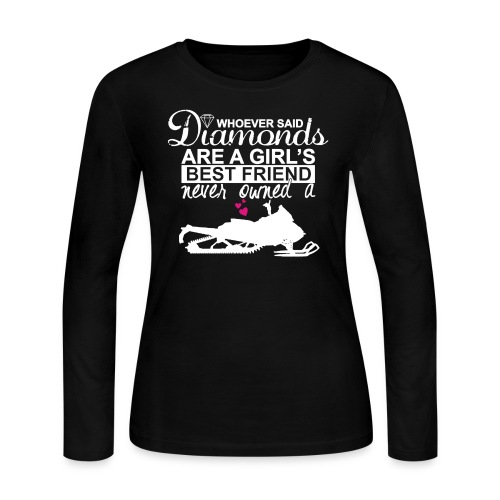 diamonds are a girls best friend 2 nob white png - Women's Long Sleeve Jersey T-Shirt