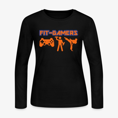 FIT-GAMERS Logo w/ Icons - Women's Long Sleeve Jersey T-Shirt
