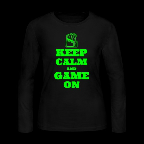 Keep Calm and Game On | Retro Gamer Arcade - Women's Long Sleeve Jersey T-Shirt