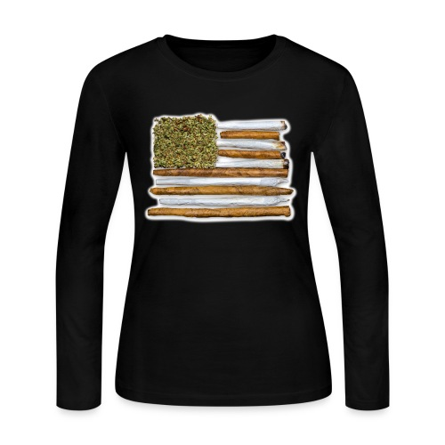 American Flag With Joint - Women's Long Sleeve T-Shirt