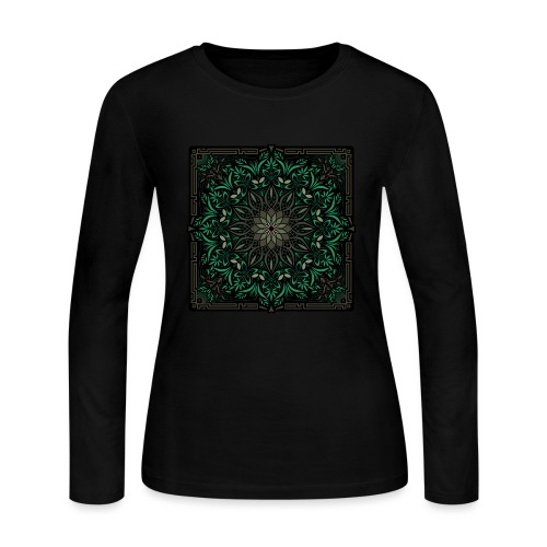 Psychedelic Mandala Geometric Illustration - Women's Long Sleeve Jersey T-Shirt
