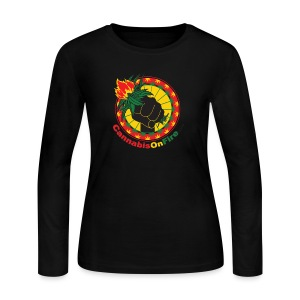 Cannabis On Fire 420 Power - Women's Long Sleeve Jersey T-Shirt