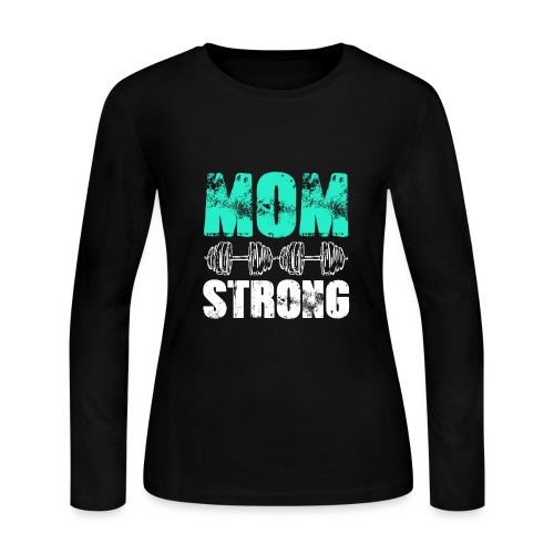 GYM + FITNESS - MOM STRONG - Women's Long Sleeve Jersey T-Shirt
