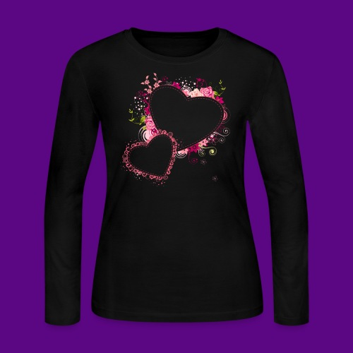 PINK HEARTS AND FLOWERS - Women's Long Sleeve Jersey T-Shirt