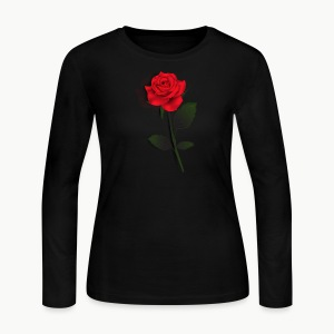 Rose Stem (Black) - Women's Long Sleeve Jersey T-Shirt