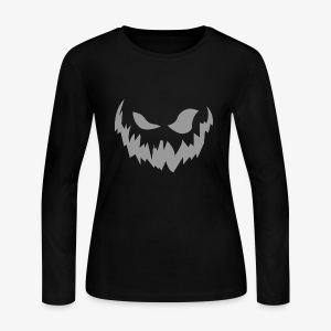 Scary Face (Grey) - Women's Long Sleeve Jersey T-Shirt